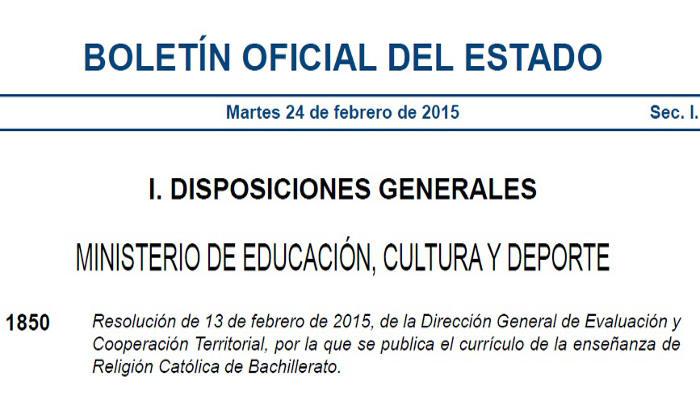 BOE curriculo religion catolica 2015 Bachillerato