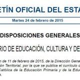 BOE curriculo religion catolica 2015 EP y ESO