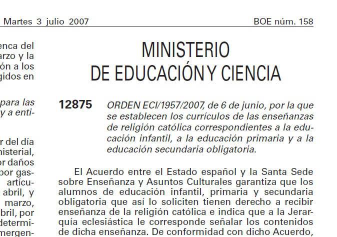 BOE religion escuela 2007