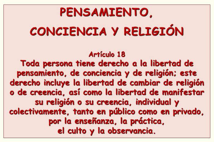 Derecho Libertad de pensamiento, conciencia y religion