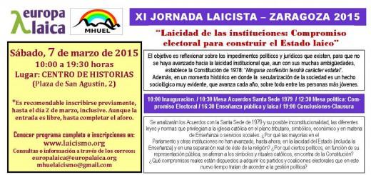 XI Jornada laicista 2015 Zaragoza