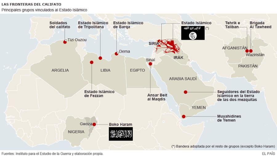 Fronteras Califato Estado Islamico ISIS 2015