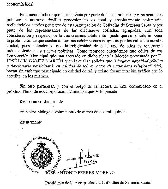 Respuesta mocion laicidad Velez Malaga 1