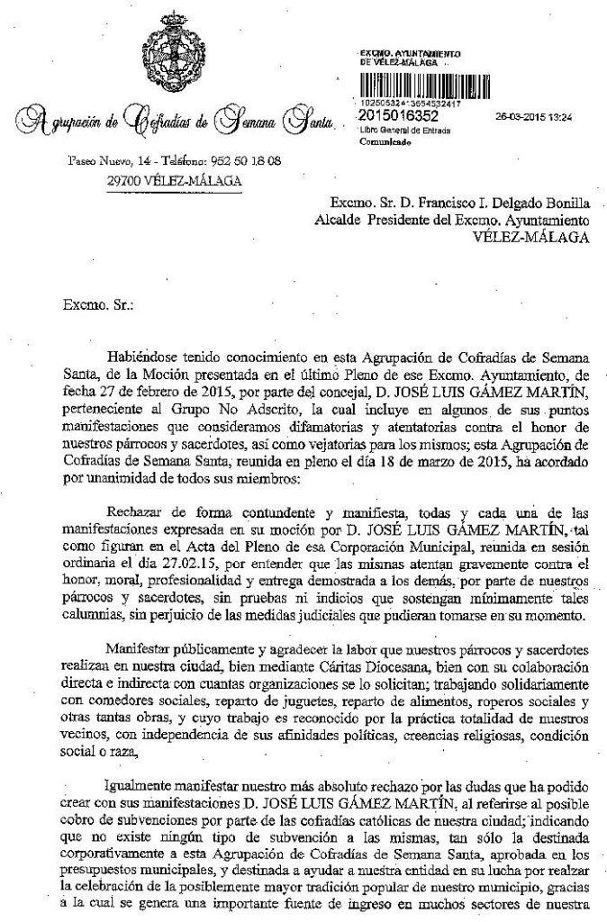 Respuesta mocion laicidad Velez Malaga