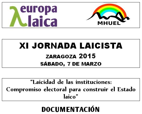 XI Jornada Laicista Zaragoza 2015 Documentacion