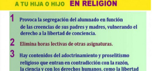 cartel 7 razones no matricular religion