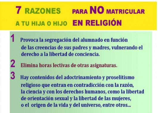 cartel 7 razones no matricular religion