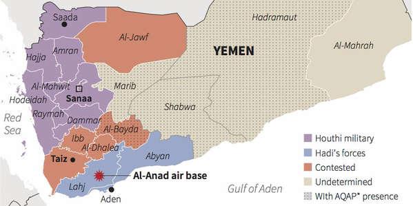 mapa Yemen 2015