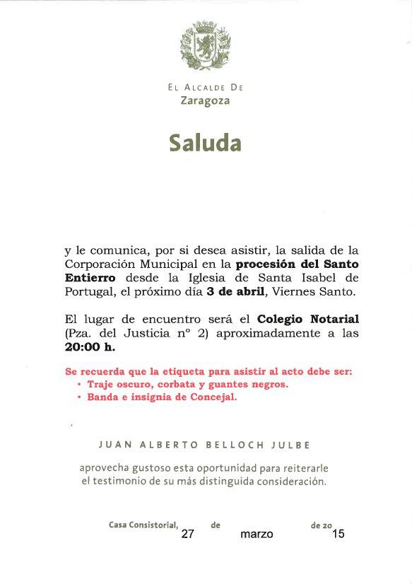 procesion ayuntamiento Zaragoza 2015