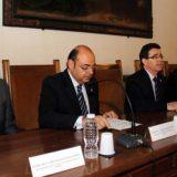 El presidente de Diputación, Sebastián Pérez junto al Superior General de la Orden de San Juan de Dios, Jesús Etayo. Foto: aG