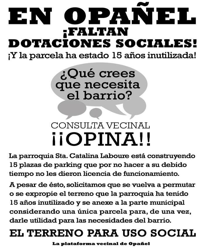 hoja vecinos Opanel Madrid