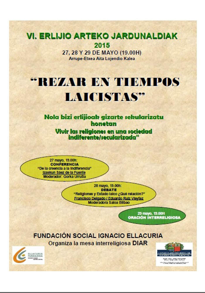 Cartel Jornadas Rezar en tiempos laicistas 2015