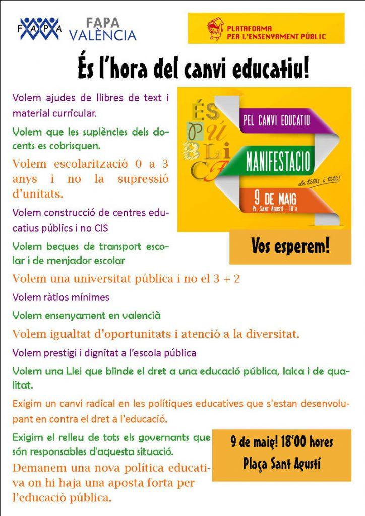 Manifiesto mani 9 may Valencia