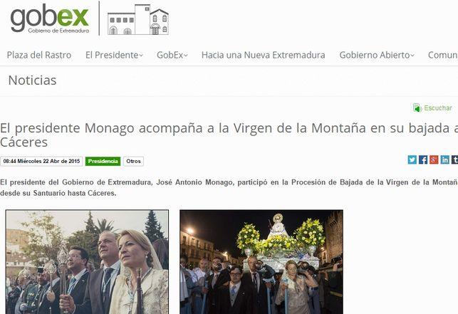 Agenda ofical de José Antonio Monago como presidente de la Junta / GobEx