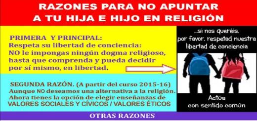 No me apuntes a religion Cartel 2015 razones no matricular en religion w