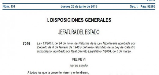 modificacion Ley Hipotecaria BOE