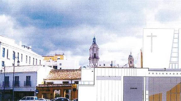 Recreación de la fachada de la casa hermandad, a la derecha del Mesón de la Victoria. / Sur