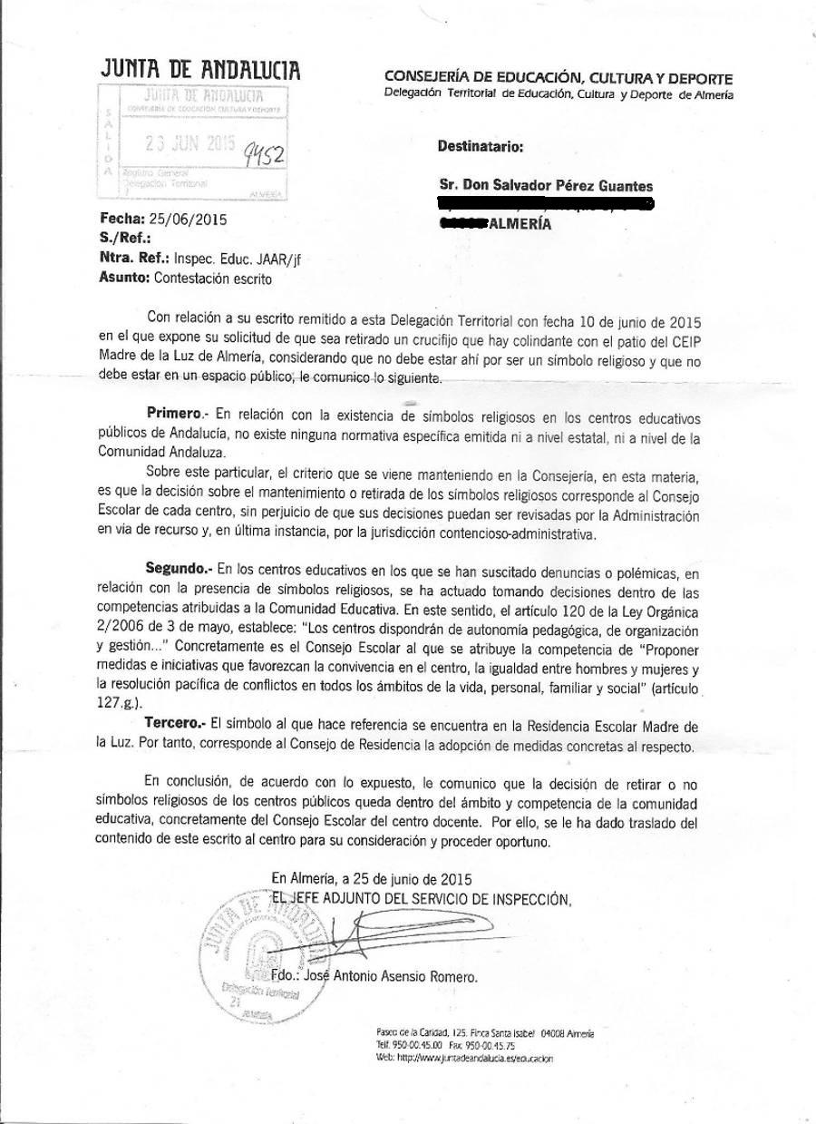 Respuesta crucifijo Almeria 20150702 Padre