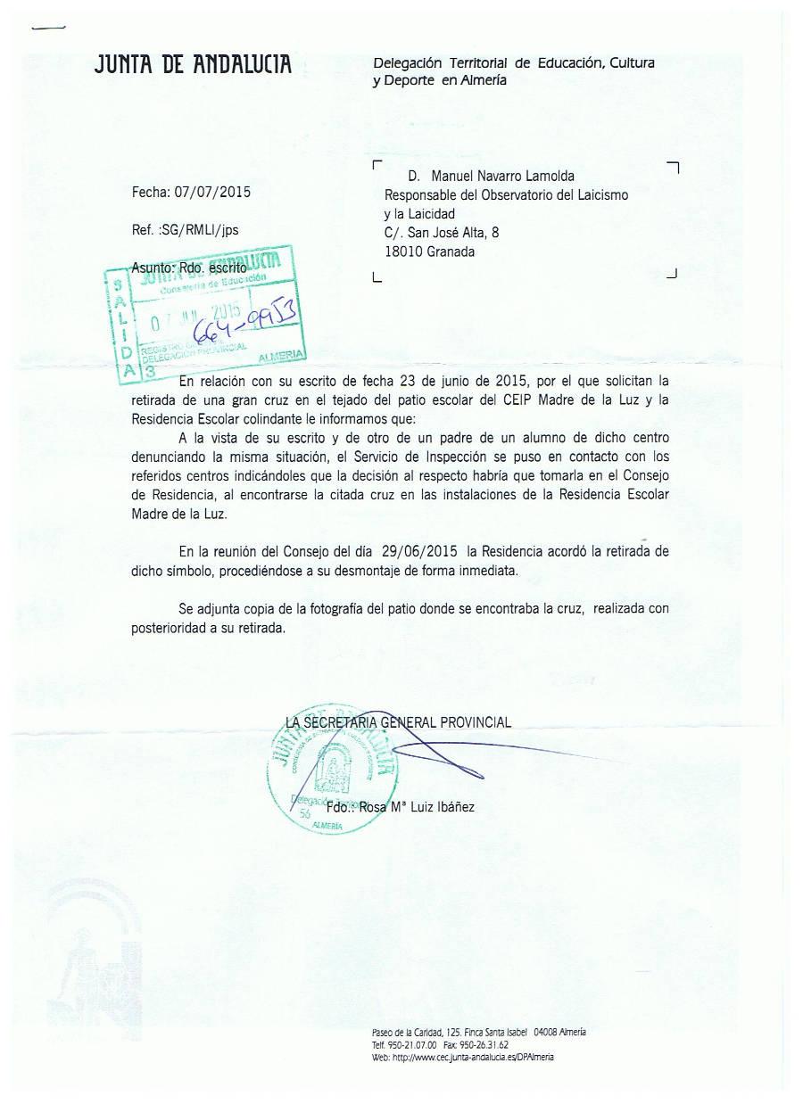 Respuesta crucifijo Almeria 20150707 Observatorio
