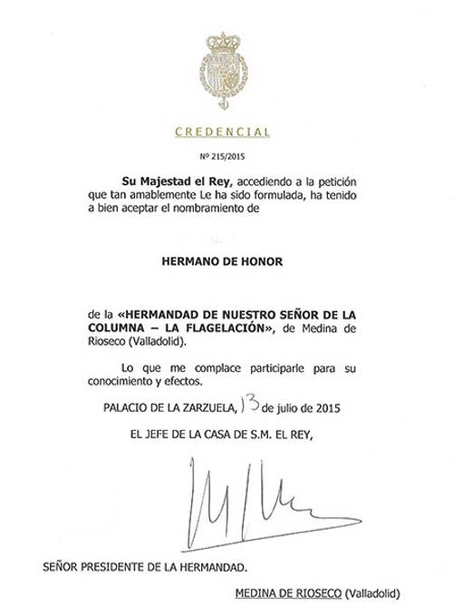 Felipe VI hermano Flagelado Medina Rioseco