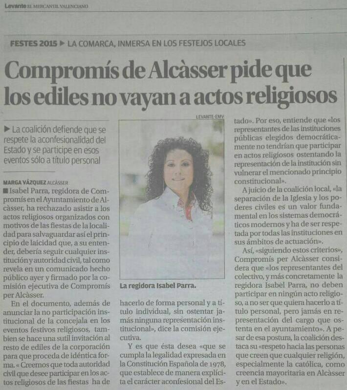 Levante 20150820 Compromis Alcasser no actos religiosos