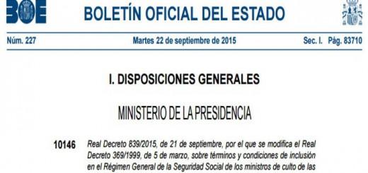 BOE pensiones pastores protestantes 2015