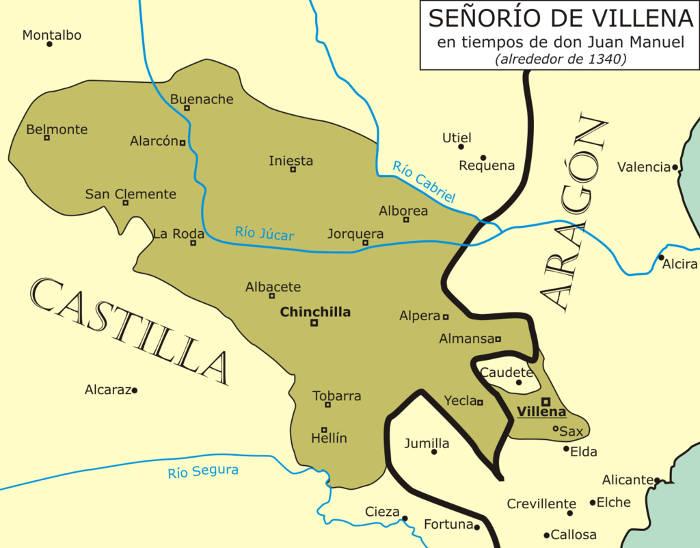 Muy probables lindes del Señorío de Villena en 1340, fechas que se tiene noticias del nacimiento de las ferias y mercados de Albacete y Chinchilla, ajenos a la cuestión religiosa.