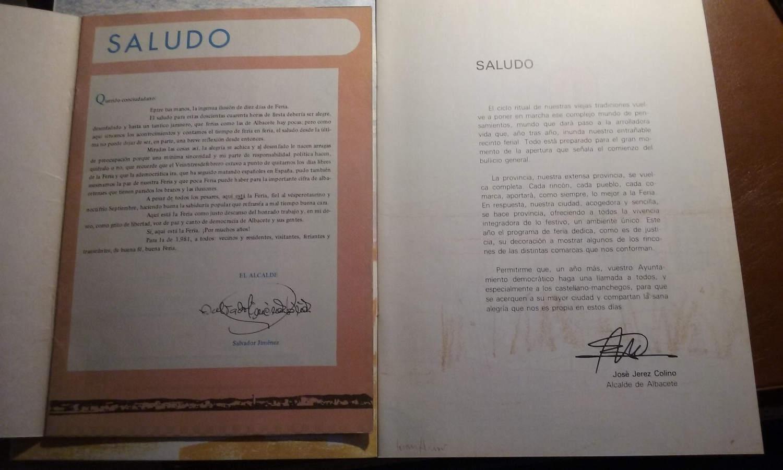 Dos ejemplos de saludas de la feria de dos alcaldes del PSOE de los primeros años, desde 1979 (1981 y 1986) que no introducen mensajes religiosos. Sólo hacen alusión a la Feria civil de toda la ciudadanía.