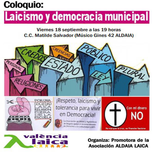 """Coloquio en Aldaia sobre """"Laicismo y democracia municipal"""""""