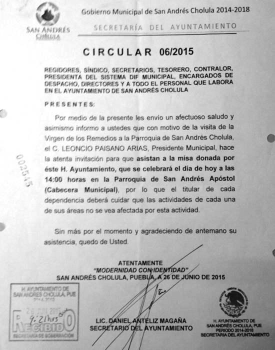 circular alcalde misa trabajdores Mexico 2015