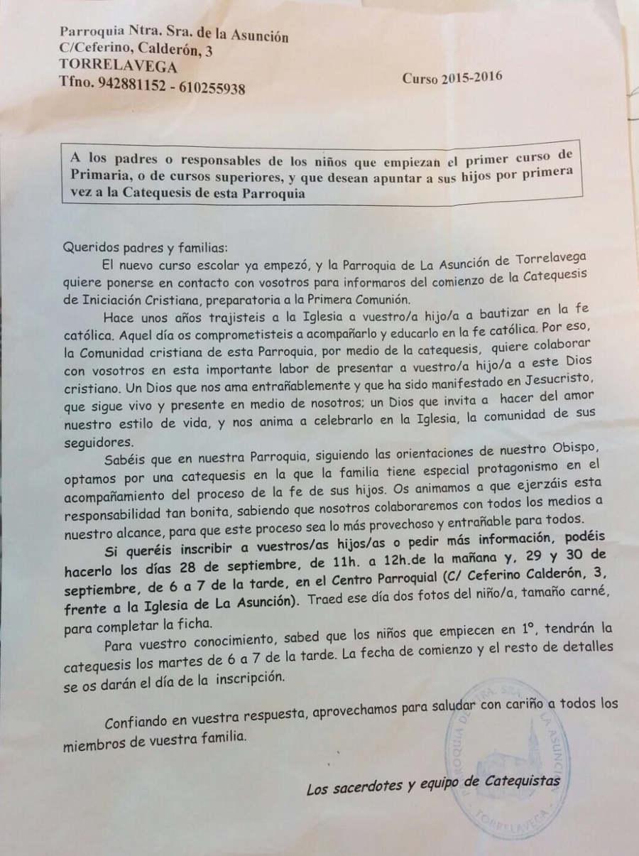propaganda parroquial colegio publico Torrelavega 2015