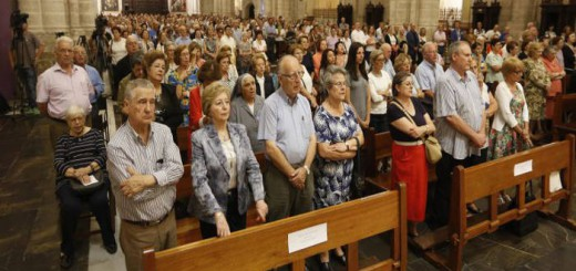 Aspecto de la Catedral de Valencia durante la vigilia por la unidad de España