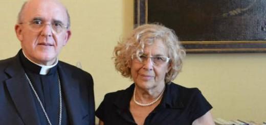 Carmena alcaldesa con arzobispo Osoro Madrid