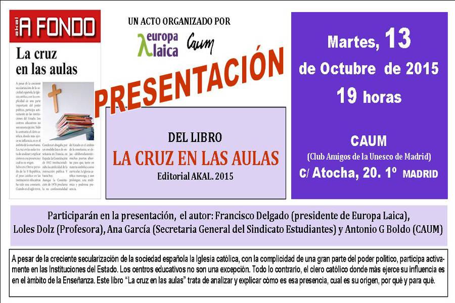 Presentacion libro la cruz en las aulas Madrid 2015
