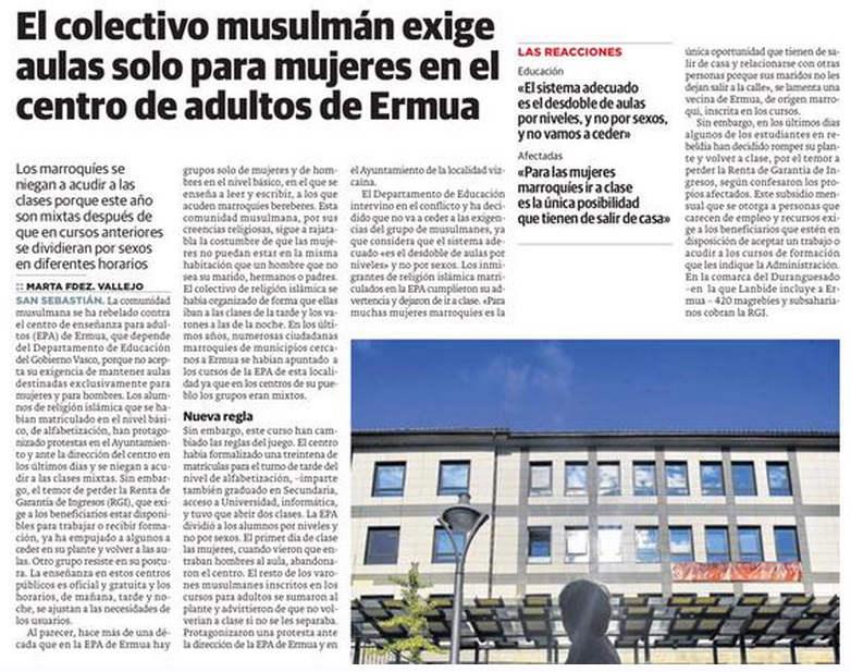 musulmanes Ermua exigen aulas para mujeres 2015