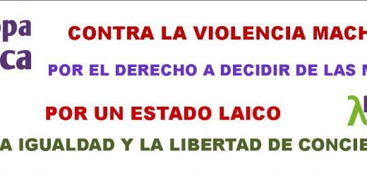 pancarta violencia mujer 7N europa laica 2015