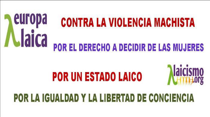 pancarta violencia mujer europa laica 2015