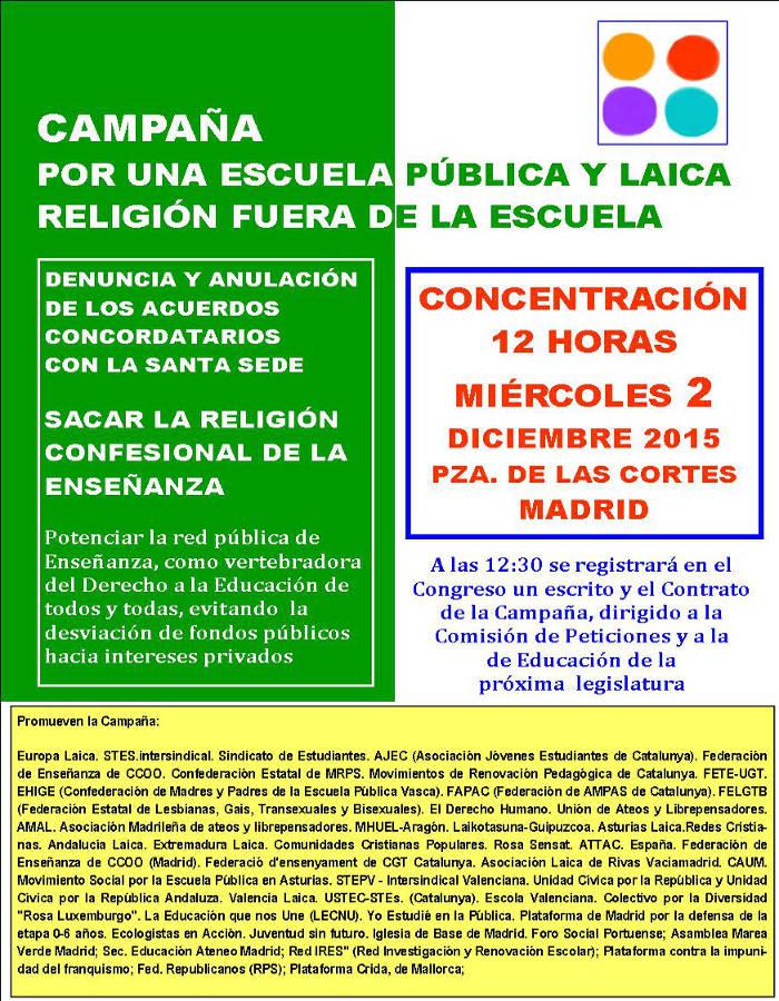 Concentracion congreso religion fuera escuela 2015 a