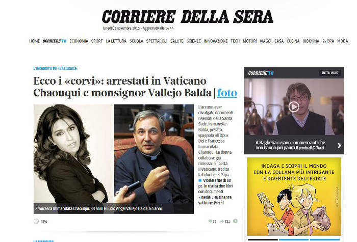 Vallejo sacerdot detenido filtraciones Vaticano 2015 Corriere della Sera