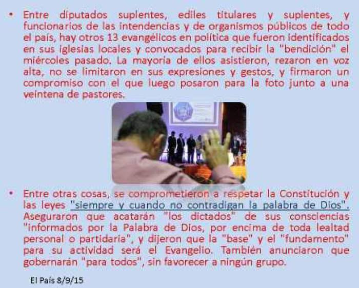 pastores evangelicos en politica Uruguay