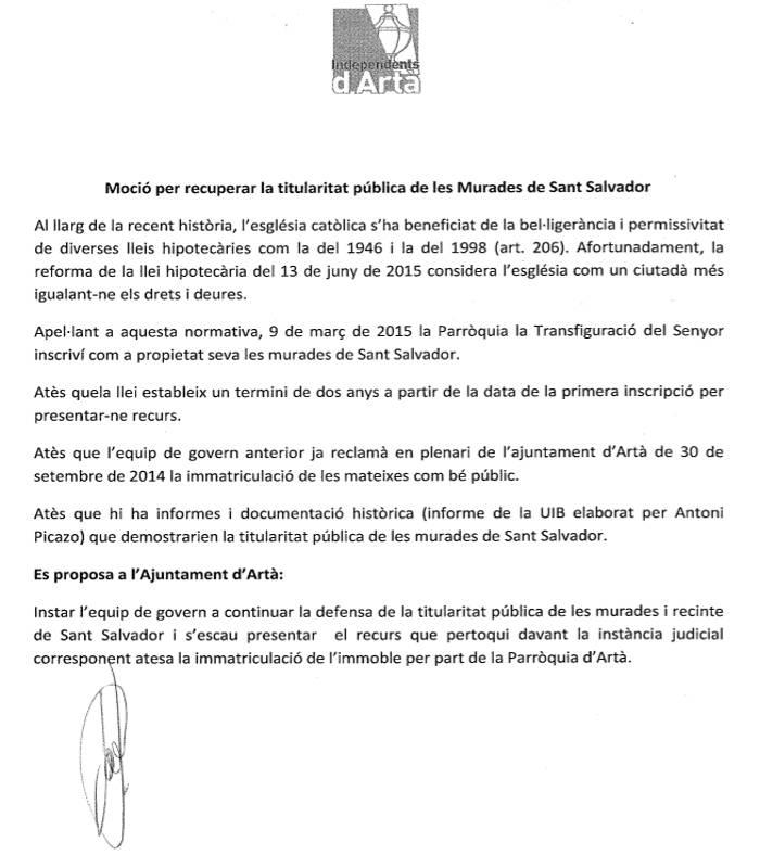 Mocion Muralla inmatriculaciones Arta 2016