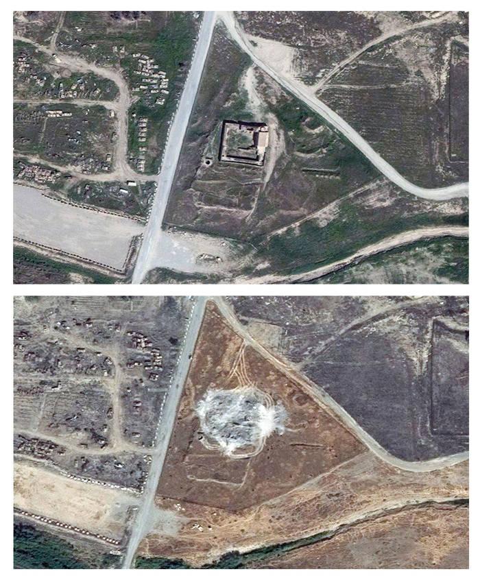 Arriba, fotografía de satélite del convento de San Elías tomada en marzo de 2011. Abajo, imagen de la misma zona obtenida este mes de enero.  AP