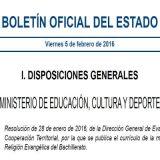 BOE curriculo religion evangelica Bachillerato 2016