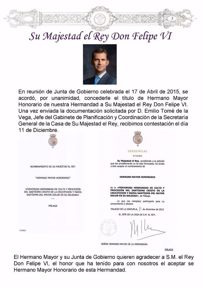 Felipe VI hermano cofradia crucifixion en Malaga 2015