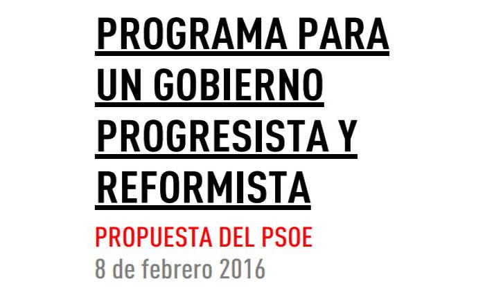 Programa PSOE gobierno 20160208