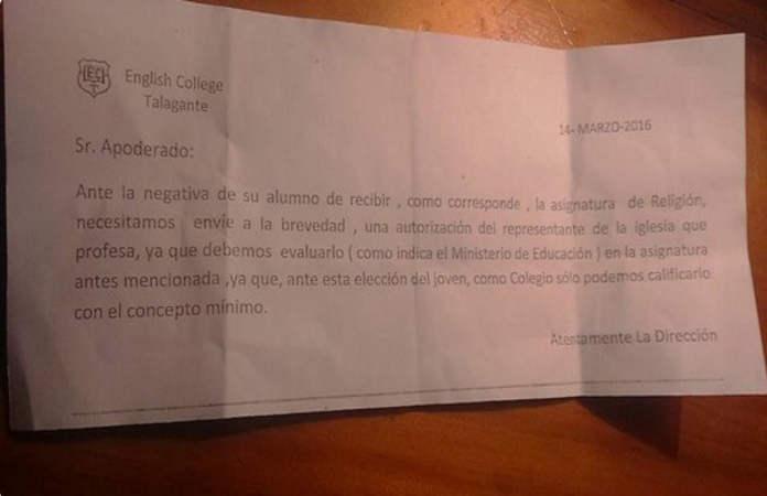 Colegio Chile pide certificado para eximir de religion 2016