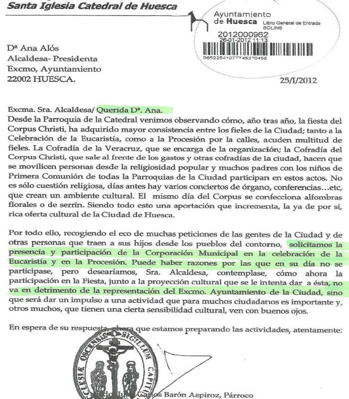 Huesca peticion catedral autoridades acto religiosos 2012