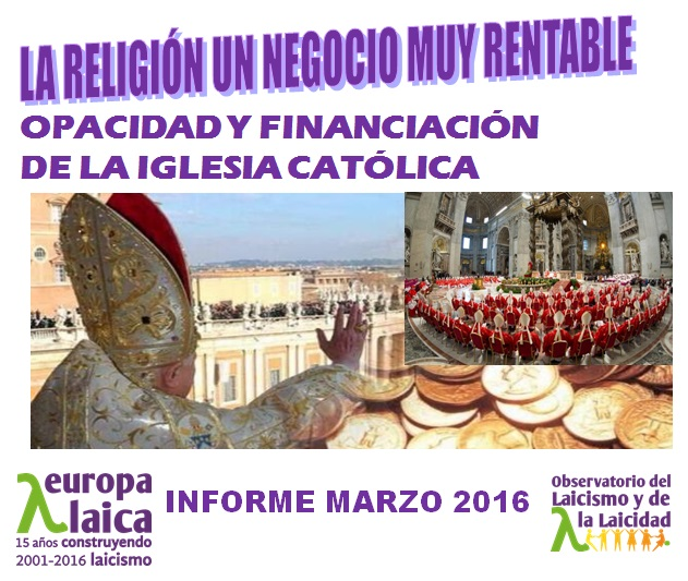 Informe financiacion iglesia  2016