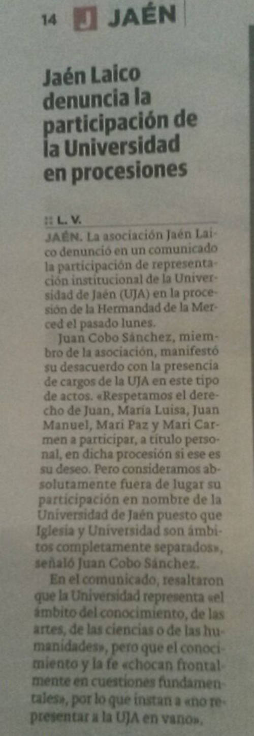 Nota de prensa en el Ideal