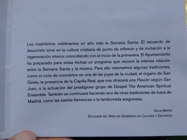 Semana santa y ayuntamiento de Madrid 2016